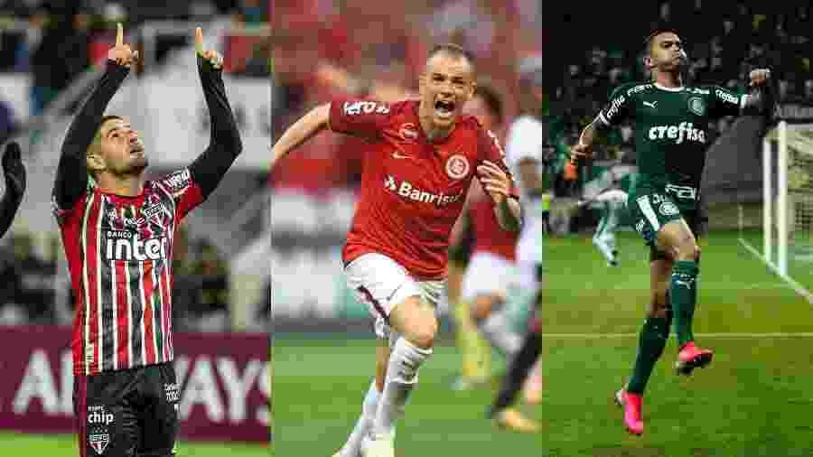 """Alexandre Pato (São Paulo), D""""Alessandro (Internacional) e Dudu (Palmeiras) - AFP, Inter e Agif"""