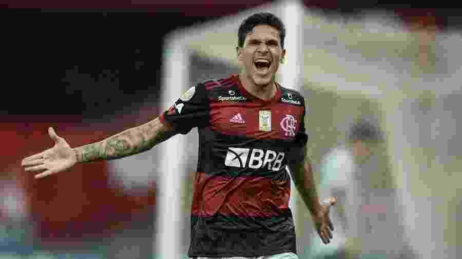 Pedro comemora o segundo gol marcado para o Flamengo contra o Goiás - Jorge Rodrigues/Jorge Rodrigues/AGIF