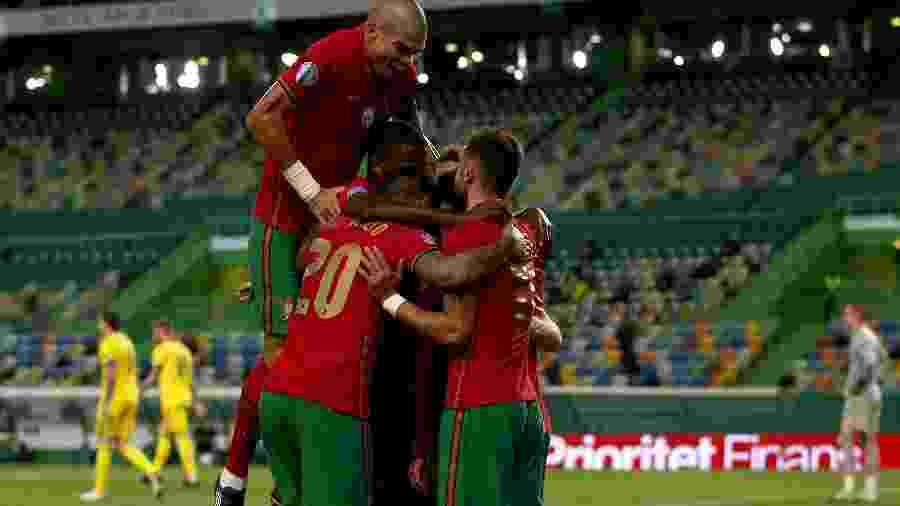Portugal comemora gol na partida contra a Suécia, pela Liga das Nações - NurPhoto via Getty Images