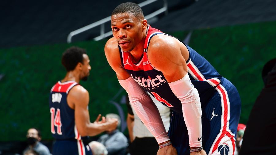 Russell Westbrook, do Washington Wizards, se tornou jogador com mais triplos duplos na história da NBA - NBAE via Getty Images