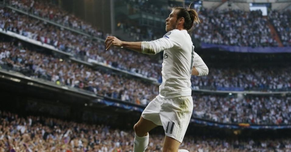 Gareth Bale comemora primeiro gol do Real Madrid contra o Manchester CityGareth Bale comemora primeiro gol do Real Madrid contra o Manchester City
