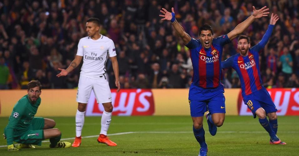 O Barcelona, derrotado na ida, precisava de pelo menos quatro gols. E correu atrás do prejuízo desde o começo: em lance estranho, chorado, Luis Suárez marcou o primeiro tento do Barça, com dois minutos de jogo. Na foto, o uruguaio e Messi comemoram