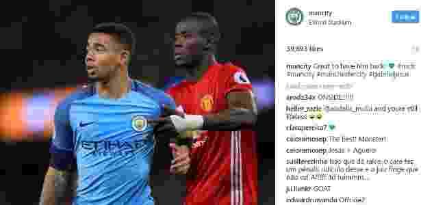 Manchester City se manifestou sobre retorno de Jesus - Reprodução/Instagram