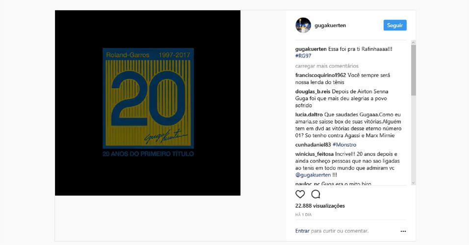 Guga faz post para homenagear o irmão nos 20 anos do primeiro título de Roland Garros
