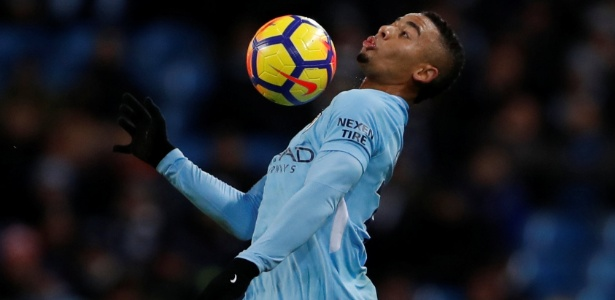 Gabriel Jesus em ação durante jogo do Manchester City - Lee Smith/Action Images via Reuters