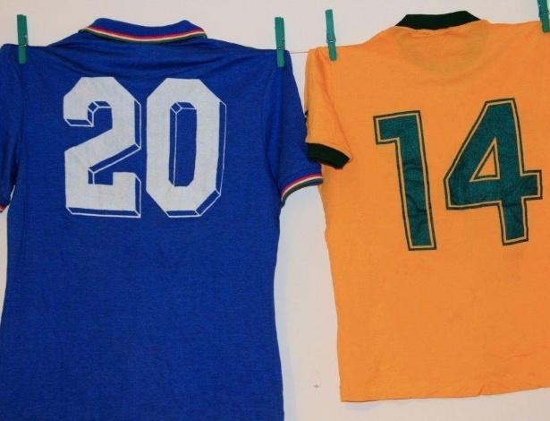 Camisa de Paolo Rossi ao lado da 14 vestida por Juninho Fonseca na Copa de 1982 - Arquivo Pessoal