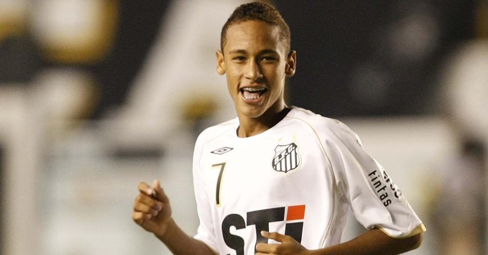 Neymar comemora gol do Santos na semifinal do Campeonato Paulista contra o Palmeiras, em abril de 2009