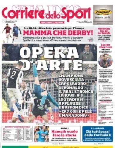 Corriere dello Sport, da Itália, fala em 'obra de arte' e diz que Buffon comparou CR7 a Pelé e Maradona