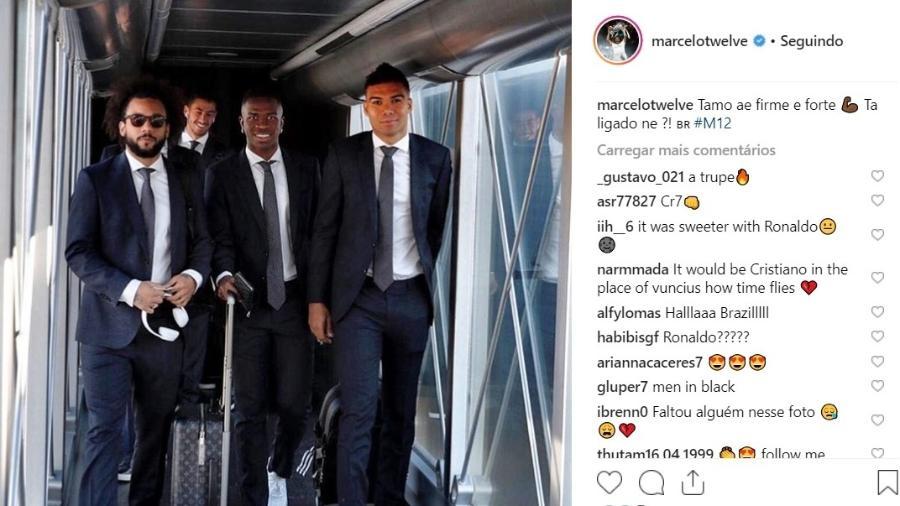Marcelo embarca para Holanda ao lado de Casemiro e Vinicius Júnior  - Reprodução/Instagram
