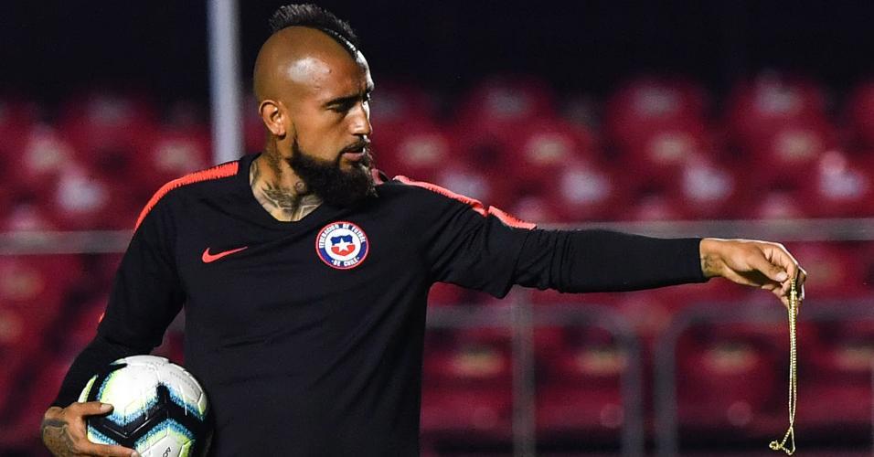 Vidal, durante treino da seleção chilena no Morumbi