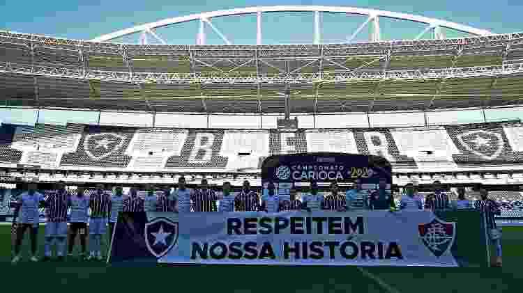 Boafogo e Fluminense protestaram contra Ferj antes do início da semifinal da Taça Rio - Vitor Silva/BFR - Vitor Silva/BFR