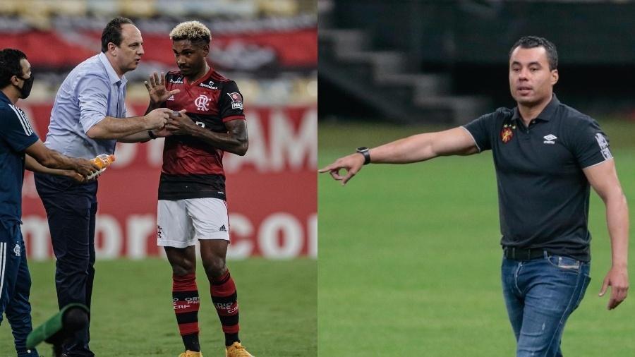 Rogério Ceni, técnico do Flamengo, dá instruções a Vitinho; Jair comanda o Sport - Fotos de André Mourão/Foto FC/UOL e Marcello Zambrana/AGIF