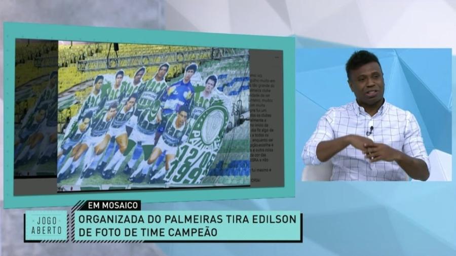Organizada do Palmeiras tira Edílson de foto do time campeão  - Reprodução/TV Bandeirantes