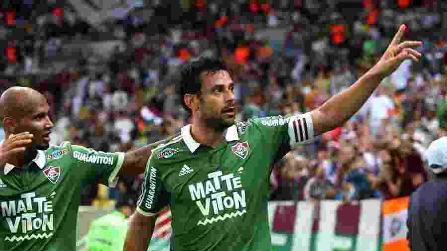 Fred comemora gol do Fluminense: artilheiro mais perto do retorno - NELSON PEREZ/FLUMINENSE F.C.