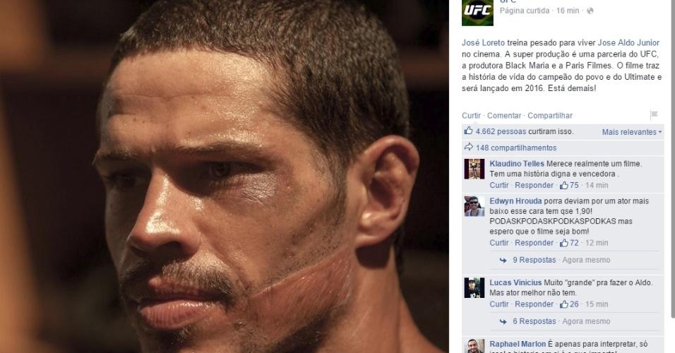 UFC divulga foto de José Loreto como Aldo, e ator terá até cicatriz marcante