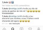 """Dudu responde torcedor e chama atacante rubro-negro de """"chorão"""" - Reprodução"""