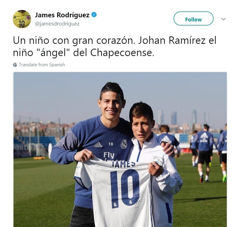 Menino anjo encontra James Rodríguez e ganha uma camiseta
