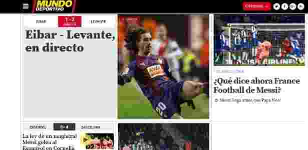 Capa do site do jornal Mundo Deportivo - Reprodução - Reprodução
