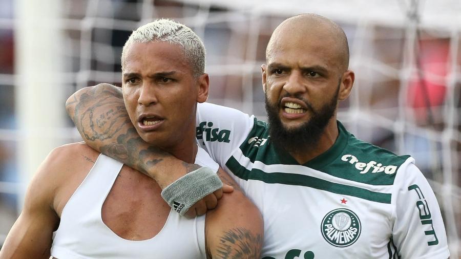 Felipe Melo e Deyverson comemoram gol do título Brasileiro de 2018 - Cesar Greco/Ag. Palmeiras/Divulgação