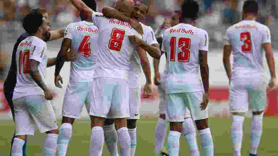 Time do Red Bull Bragantino comemora gol - Divulgação/Red Bull Bragantino