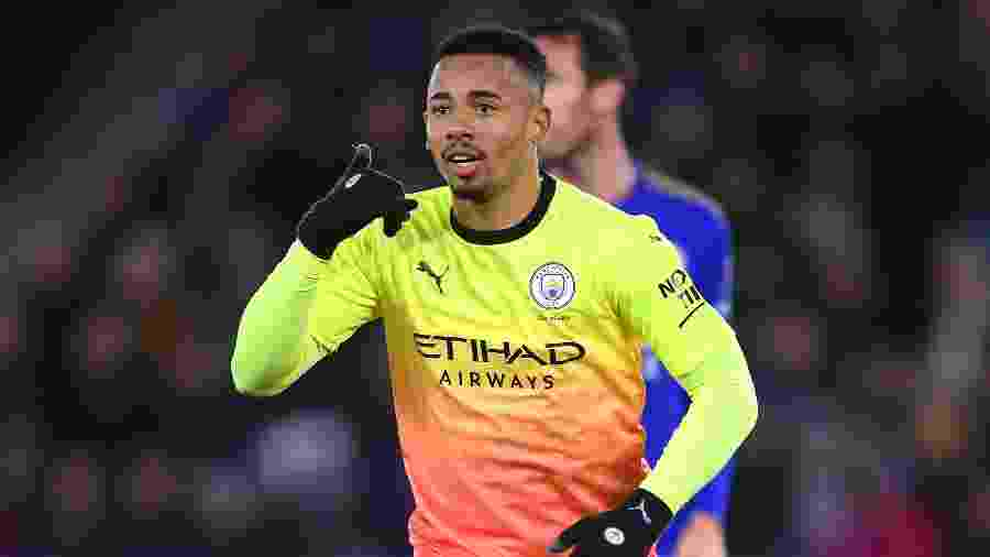 Gabriel Jesus comemorando o gol do Manchester City - Laurence Griffiths / Getty Images