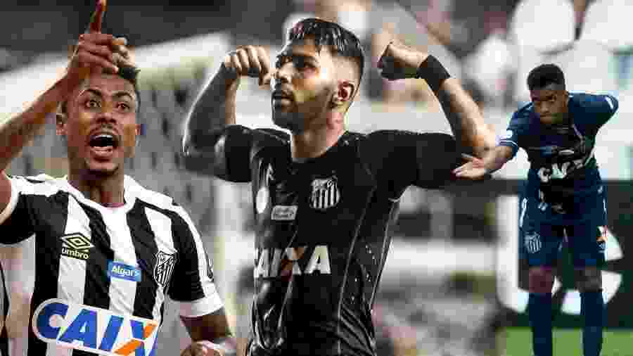 Bruno Henrique, Gabigol e Rodrygo em ação pelo Santos - Ivan Storti/Santos FC