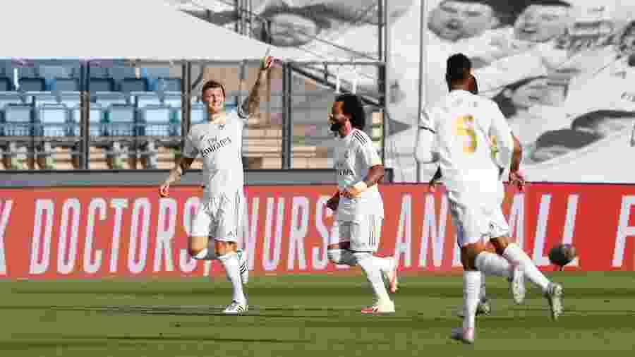 Toni Kroos comemora gol para o Real Madrid diante do Eibar pelo Campeonato Espanhol - Real Madrid CF/Divulgação