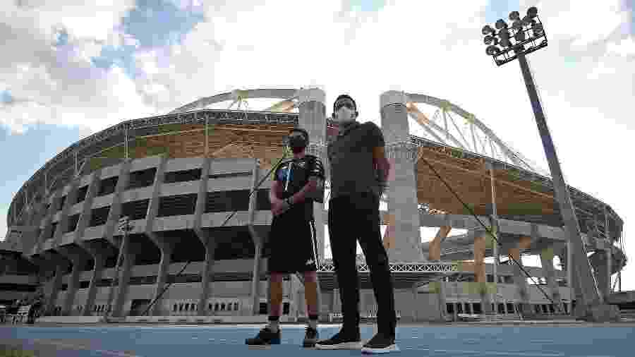 Lucio Flavio e Tulio Lustosa no treino do Botafogo, no Nilton Santos - Vitor Silva/Botafogo