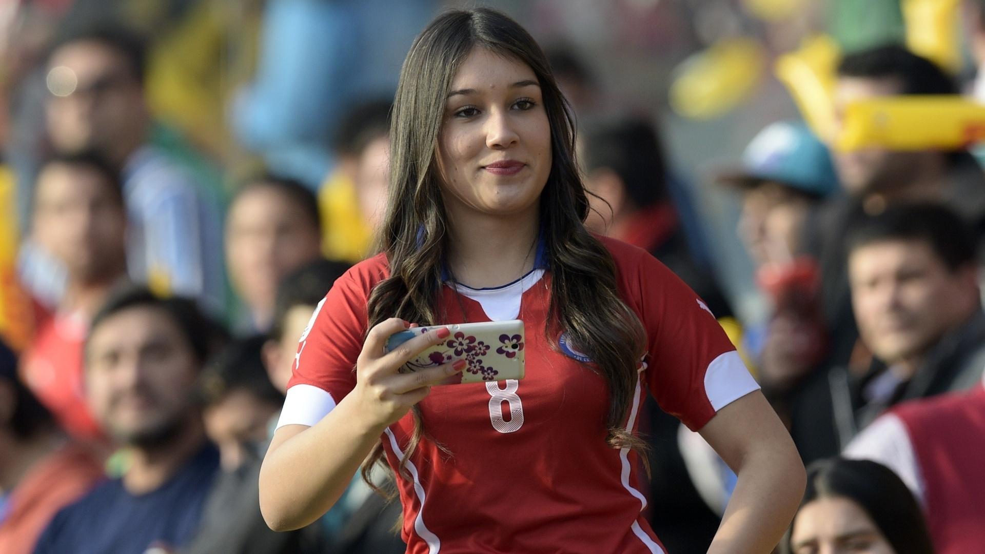 Torcedora Concepción durante as quartas de final da Copa América