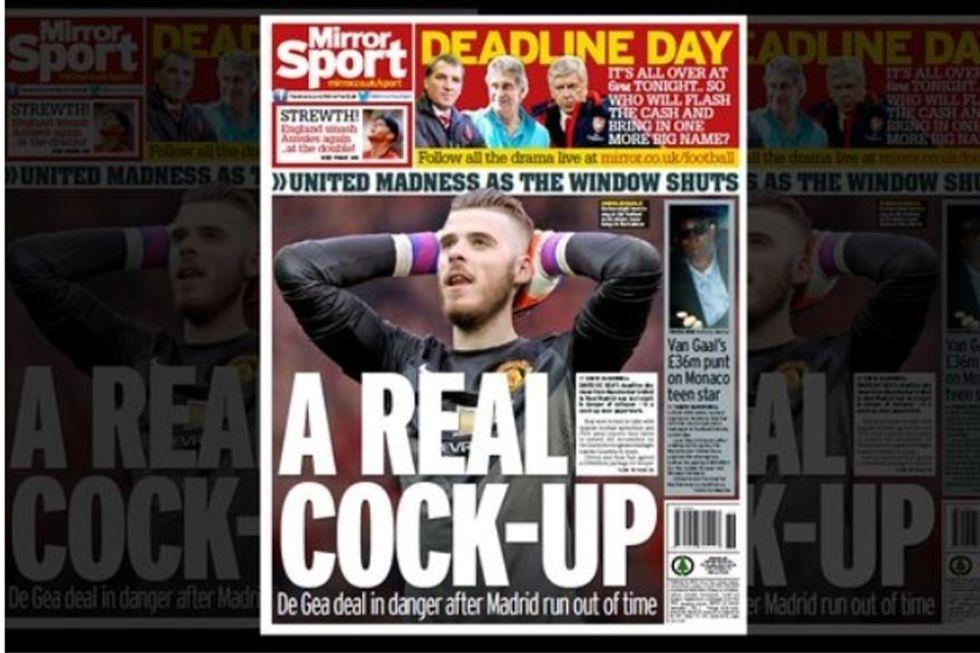 Daily Mirror (Londres, Inglaterra): ?Um fracasso real: acorde de De Gea em perigo após atraso do Real Madrid?