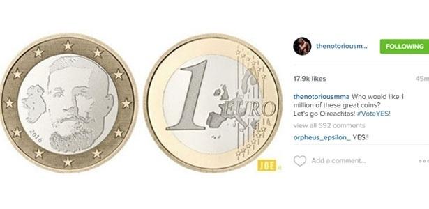 Moeda de 1 euro em homenagem a McGregor - Reprodução/Instagram