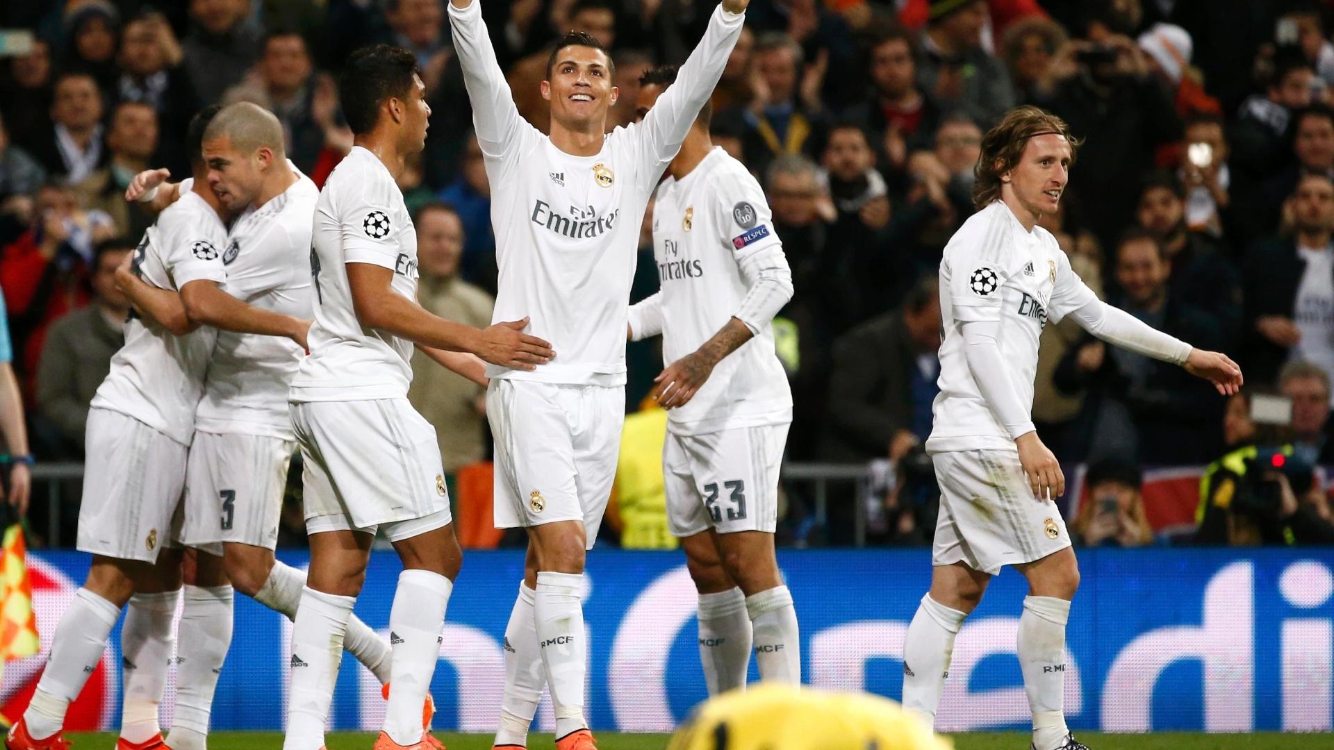 Cristiano Ronaldo abriu o placar para o Real Madrid contra a Roma