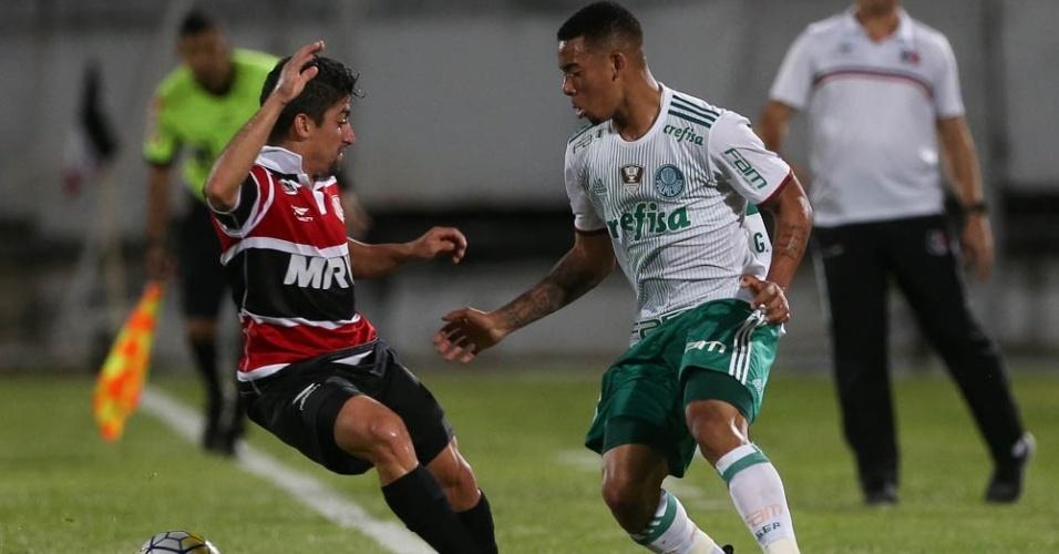 Gabriel Jesus Palmeiras dribla Santa Cruz