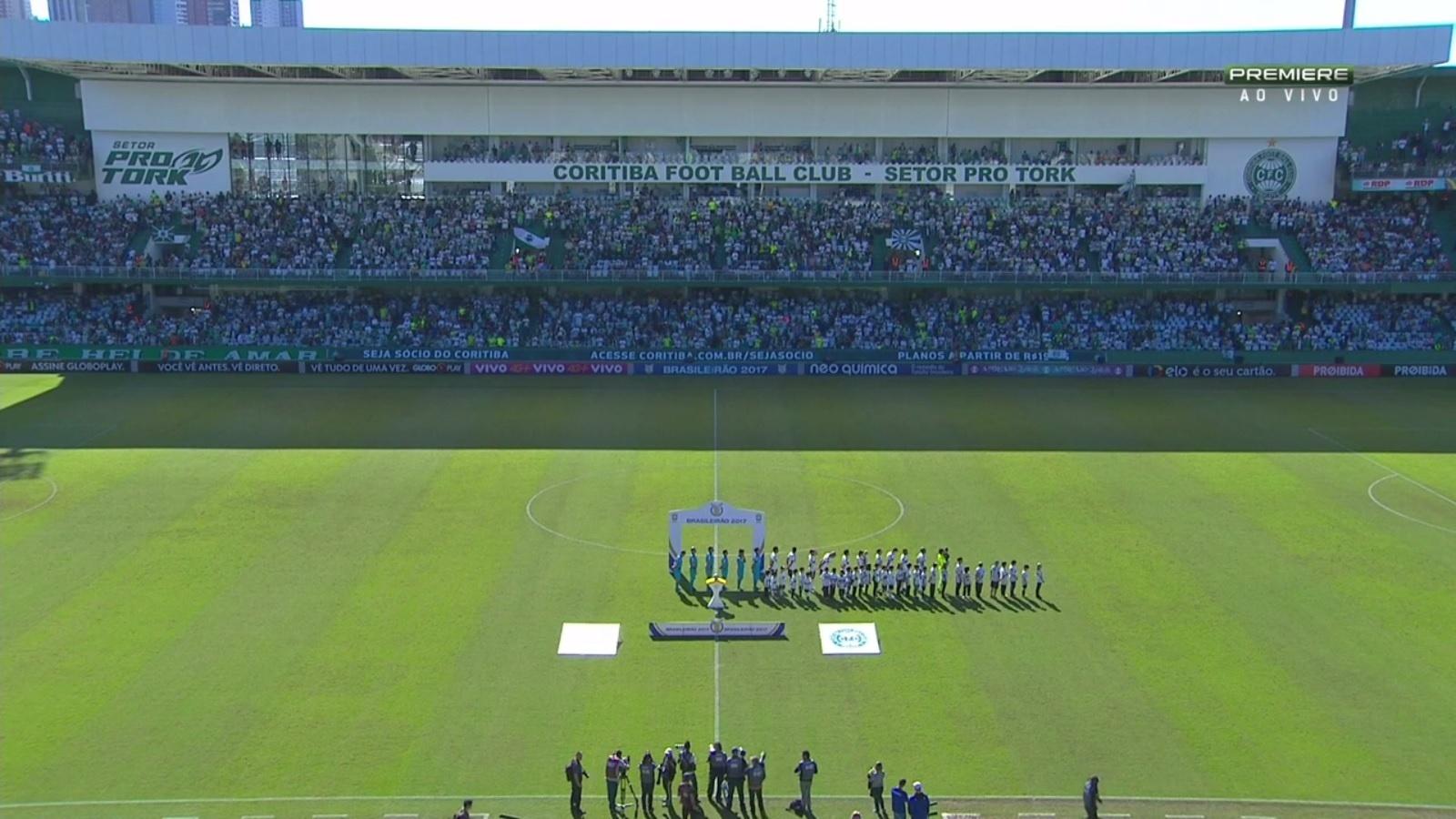 Confusão entre torcidas fez com que o Corinthians atrasasse e apenas os jogadores do Coritiba ouviram o hino nacional