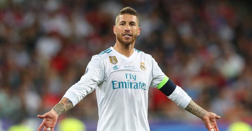 Sergio Ramos reclama durante final da Liga dos Campeões