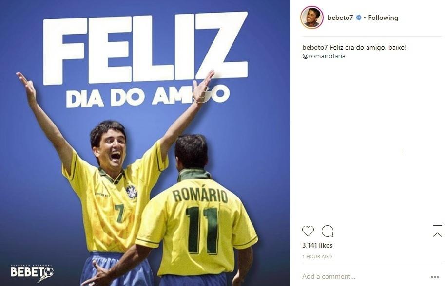No dia do amigo, Bebeto faz homenagem a Romário