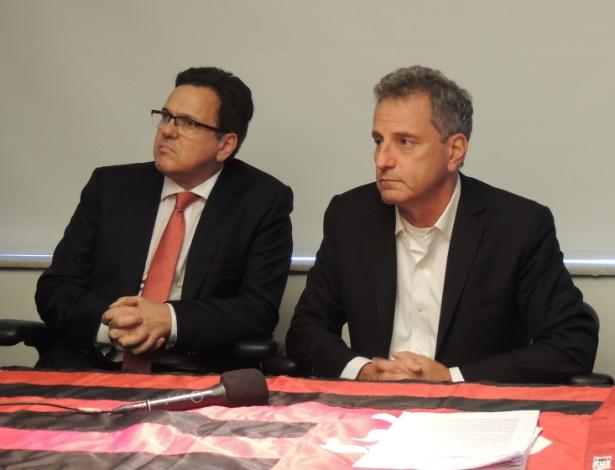 Rodolfo Landim (d) ao lado do vice Rodrigo Dunshee: chapa de oposição no Flamengo - Divulgação