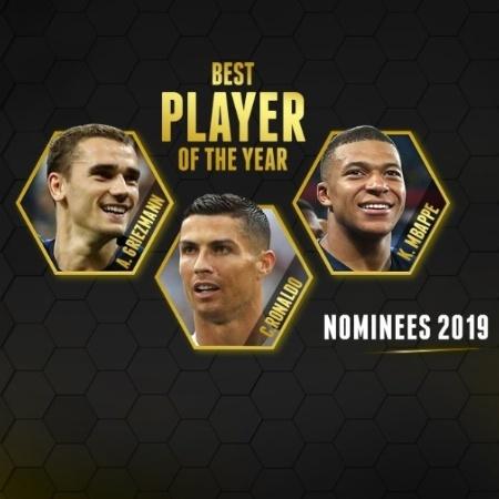 CR7, Griezmann e Mbappé são os indicados para conquistar o prêmio - Divulgação