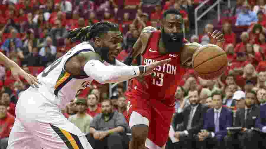 James Harden é marcado por Jae Crowder em jogo entre Utah Jazz e Houston Rockets - Troy Taormina/USA TODAY Sports