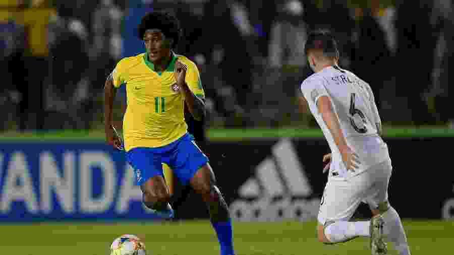 Talles Magno, durante partida entre Brasil e Nova Zelândia - Alexandre Loureiro/CBF