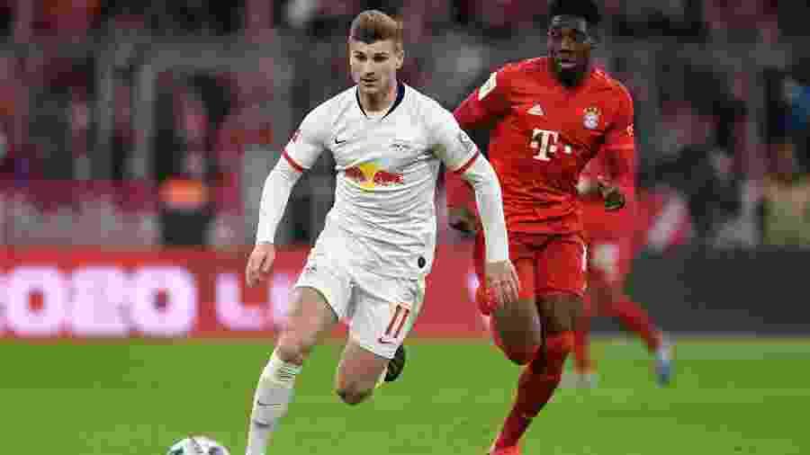 Timo Werner em partida do RB Leipzig contra o Bayern de Munique pelo Campeonato Alemão - Andreas Gebert/Reuters