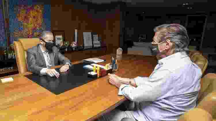 Presidente da CBF, Rogério Caboclo (esq.) e presidente do Vasco, Jorge Salgado (dir): reunião ocorreu mês passado - Thais Magalhães / CBF - Thais Magalhães / CBF