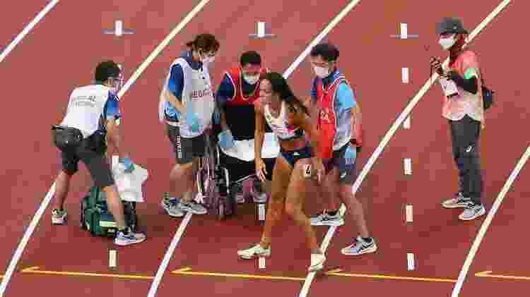 Katarina Johnson-Thompson sentiu lesão muscular, mas conseguiu concluir a prova - Rob Carr/Getty Images - Rob Carr/Getty Images
