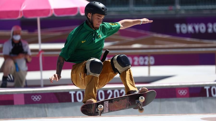 Pedro Quintas, do Brasil, durante classificatórias do skate park nas Olimpíadas  - REUTERS/Mike Blake