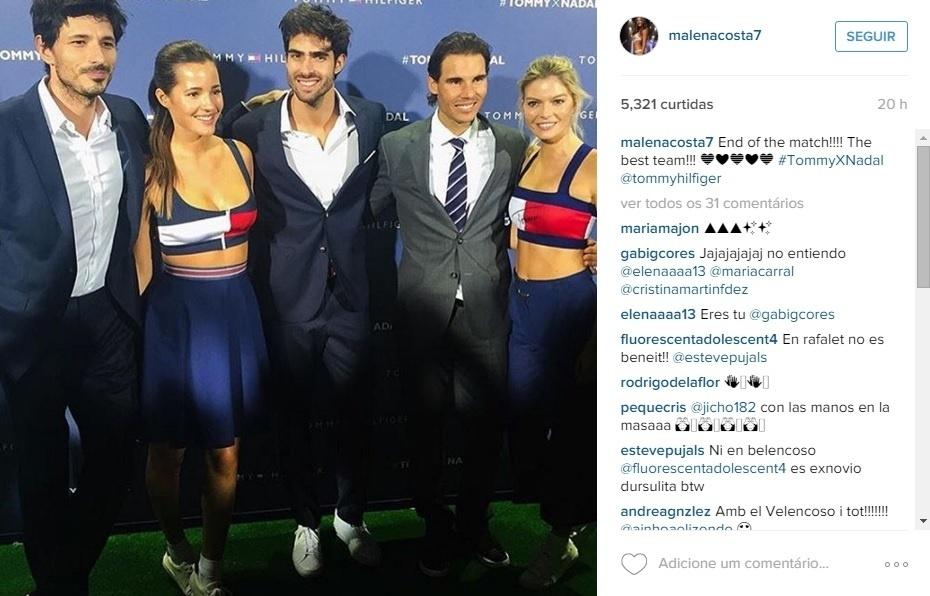 Rafael Nadal e Malena Costa jogam partida de