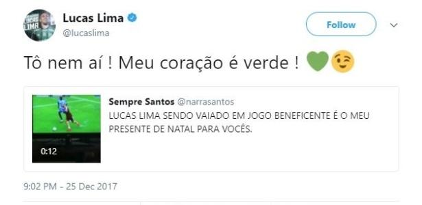 Lucas Lima respondeu à provocação de santista nas redes sociais