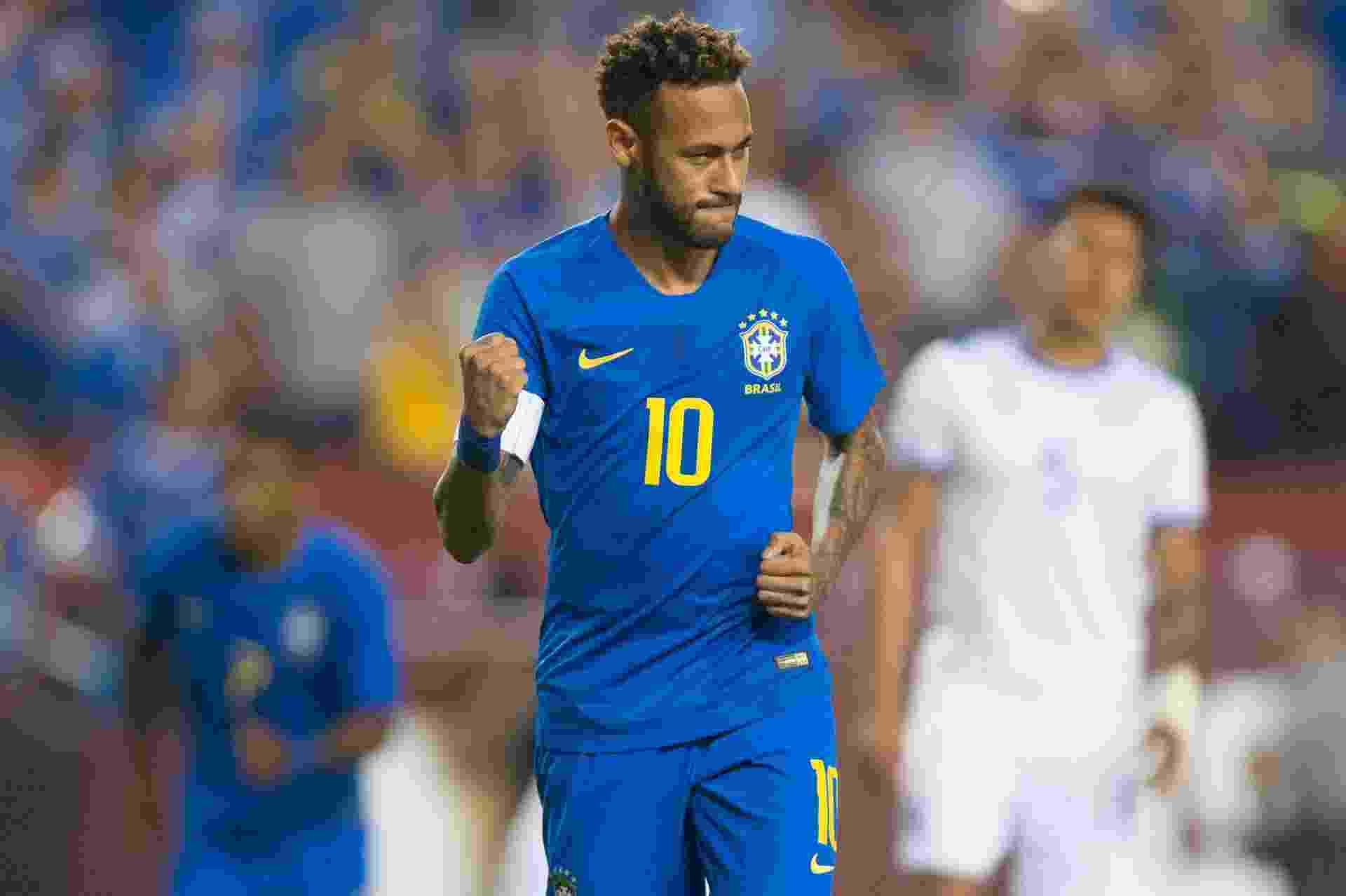 Neymar comemora primeiro gol do Brasil sobre El Salvador em amistoso disputado nos EUA - Pedro Martins / MoWA Press
