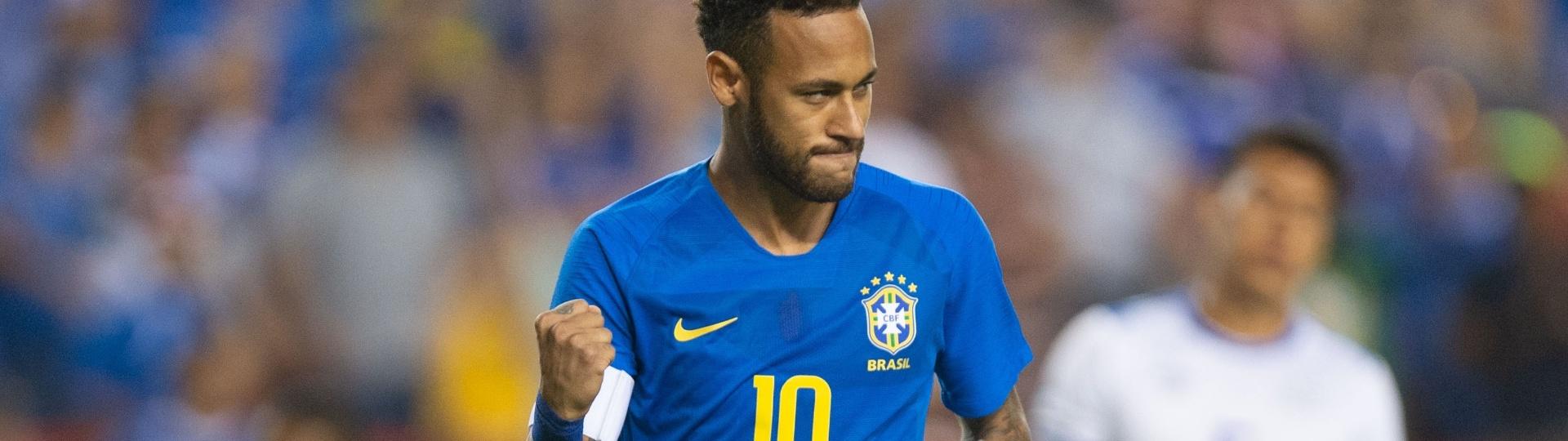 Neymar comemora primeiro gol do Brasil sobre El Salvador em amistoso disputado nos EUA