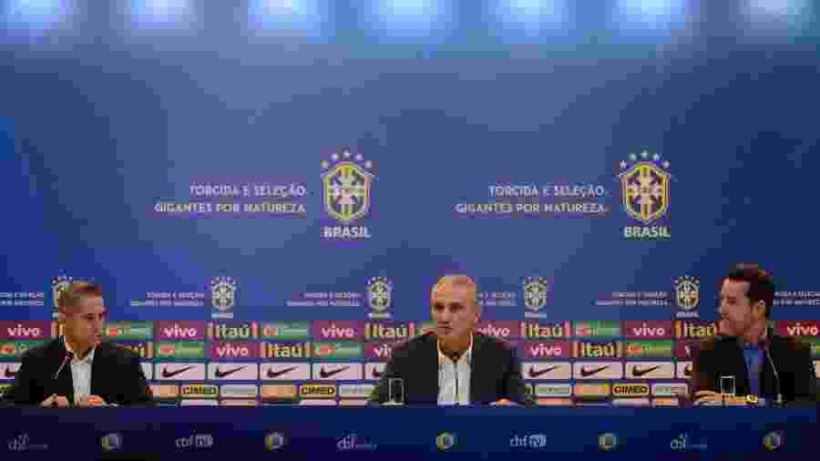 Sylvinho, Tite e Edu Gaspar trabalham no comando da seleção brasileira - Pedro Martins/Mowa Press