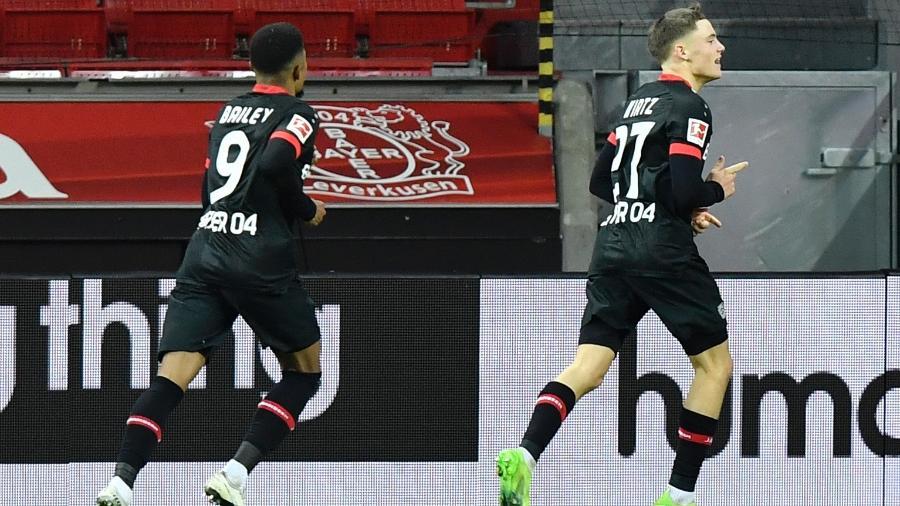 Wirtz celebra o segundo gol do Leverkusen contra o Dortmund - MARTIN MEISSNER/AFP